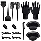 15 Pcs Hair Dye Coloring Kit, Hair Coloring Dyeing Bleaching DIY Salon Tool, Hair Tinting Bowl/Dye Brush/Mixing Spoon/Ear Cover/Gloves/Tint Comb Hair Dye Kit (Black)