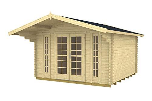 Gartenhaus CAMILLA - B40 Blockhaus 380x380cm - 40mm - Inkl. Fußboden+Verglasung Gartenlaube Holzhaus Holzlaube