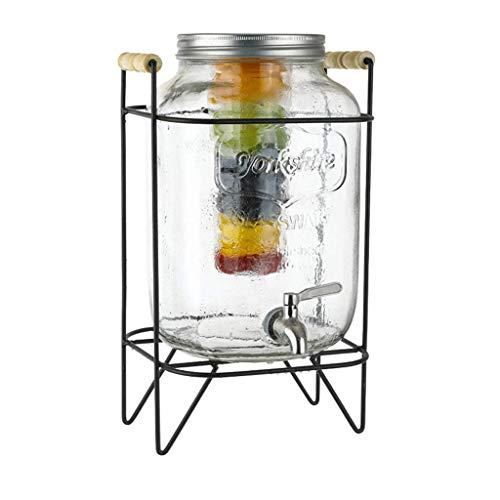 Dispensador De Bebidas con Grifo Recipiente Vidrio De 8 L, Garrafa con Dosificador Dispensador Bebida Cristal Tarro con Grifo Transparente para Verano Fiesta Jardín