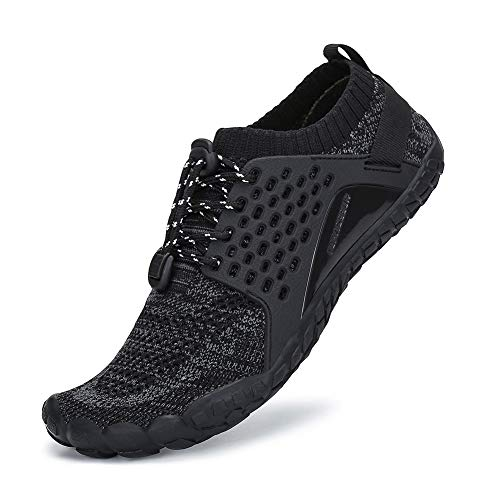 SAJOMCE Mens Womens Trail Running Shoes Minimalist Walking Barefoot Shoes Cross Trainers Hiking Shoes Wide Toe Box Black