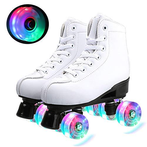 Klzzuk Weiße Rollschuhe für Damen und Herren, Klassische Zweireihige PU-Leder-Skates Quad Rollschuhe mit LED-beleuchteten PU-Rädern für Indoor-Outdoor-Anfänger Teenager für Erwachsene (EU36/ UK3.5)
