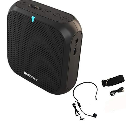 Sprachverstärker Mini Lautsprecher Ultraleicht Wiederaufladbar Stimmverstärker Megaphon mit Mikrofon 5W USB U Disk/TF für Trainer Lehrer Reiseführer Referent Vorträge (Schwarz)