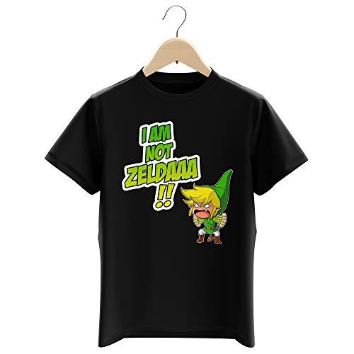 Okiwoki T-Shirt Enfant Garçon Noir Parodie Zelda - Link - Traduction Anglais (T-Shirt Enfant de qualité Premium de Taille 9-10 Ans - imprimé en France)