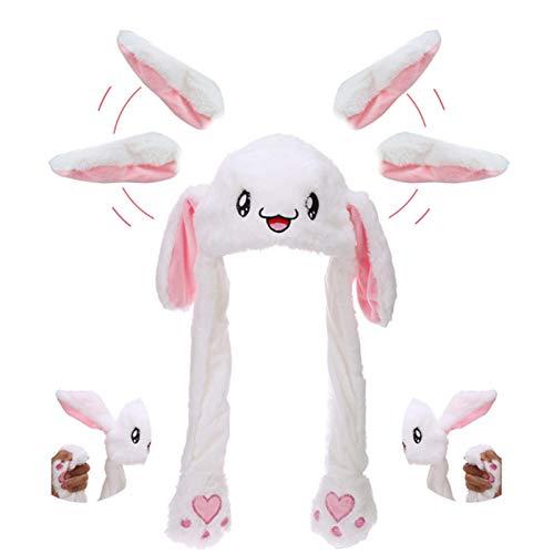 Hasenohren Hut, Plüsch Hase Hut mit Beweglichen Ohren, Kostüm für Erwachsene & Kinder, Lustige Hasenmütze aus Weichem Plüsch für Make up Party, Weihnachtsfeier Fasching, Karneval & Cosplay