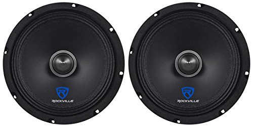 "(2) Rockville RXM84 8"" 500w 4 Ohm Mid-Range Drivers Car Speakers, Mid-Bass"