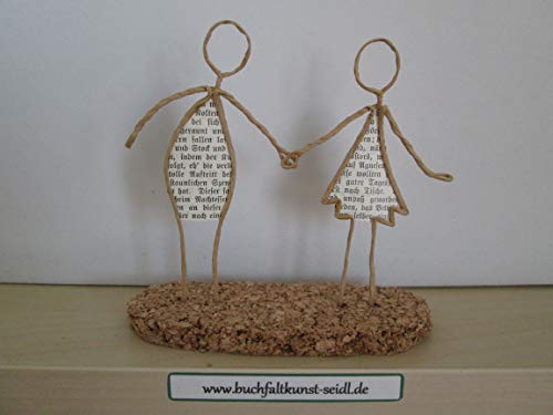 Drahtfiguren'Paar' /'Liebespaar', als Geschenk, z.B. für Geburtstag/Hochzeit/Valentinstag/Jahrestag/Weihnachten, oder als Dekoration, ca. 13 cm