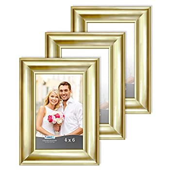 Icona Bay 4x6 Picture Frames  Gold 3 Pack  Contemporary Photo Frames 4 x 6 Wall Mount or Table Top Elegante Collection