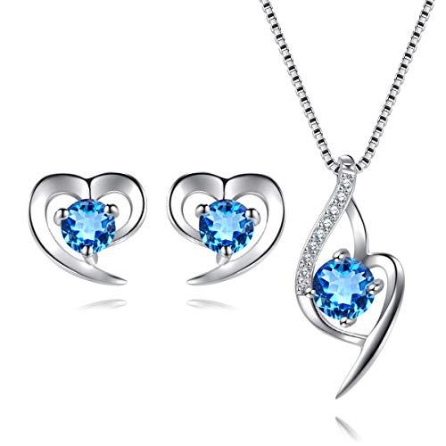 EVERU Conjunto de Joyas Corazón de Plata 925 para Mujeres, Juego de Collar y Aretes Brillante Circonita Regalos Originales con Hermosa Caja Regalo (Azul)