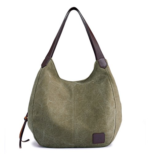 "Main material: high density cotton canvas,cotton lining and genuine leather zips. Dimension:11.02""L x 5.12""W x 11.81""H. About 0.36 Kg. Style:2 big pockets(magnetic-closure) ; 1 big pocket(zipper-closure); Many other small pockets .Tote Purse /Handbag..."