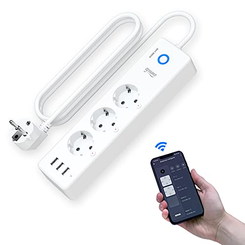 Ciabatta Smart Alexa, Multipresa Intelligente WiFi con 3 Prese AC e 3 Porte USB, Compatibile con Alexa e Google Home, Controllo Vocale & APP, Funzione Timer, Energy Monitor, Cavo 1.5M, 16A 3680W