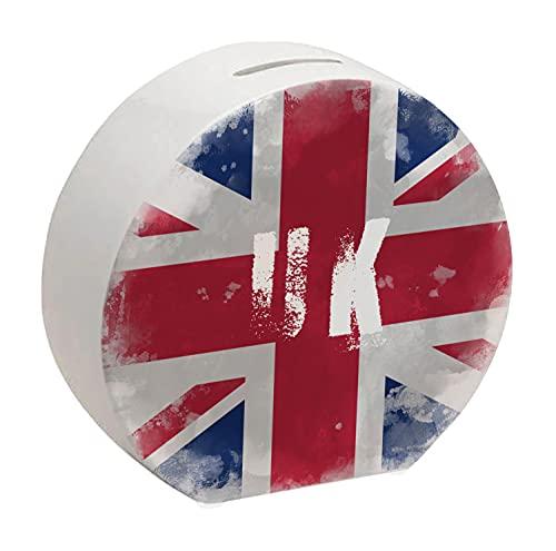 Spardose Vereinigtes Königreich-Flagge im Used Erscheinungsbild - Sparschwein für Urlauber eine schöne Sparbüchse mit der vereinigten Königreich Nationalflagge verziert um auf die Reise zu sparen