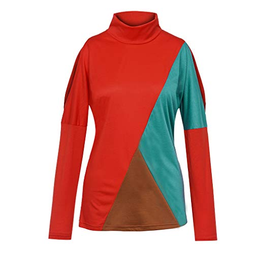 For Sale! Mlide Womens High Neck Pullover Color Block Cold Shoulder Blouse Fashion T-Shirt Tops,Red,...
