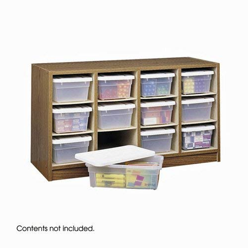 Safco Products Supplies Organizer, 12 Compartment, 9452MO, Medium Oak, Transparent Bins with