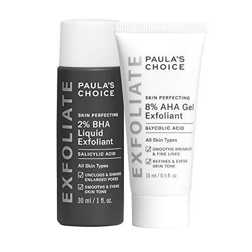 Paula's Choice SKIN PERFECTING 8% AHA Gel Exfoliant & 2% BHA Liquid Travel Duo, Facial Exfoliants for Blackheads & Wrinkles, Face Exfoliators w/ Glycolic Acid Salicylic Acid
