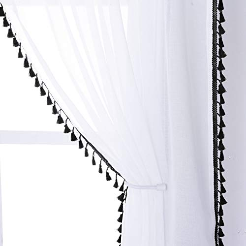 SHEEROOM Tassel Sheer Curtains for Living Room, 52 x 84 Inches Long, Black - Light Filtering and Privacy Curtain Panel, Rod Pocket Semi-Sheer Voile Drapes for Kids Girls and Boys Bedroom, 2 Panels