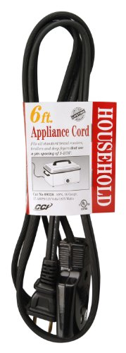 Coleman Cable 9326 HPN Appliance Cord, Black, 6-Feet