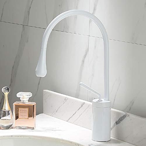 BDWS Grifo para lavabo dorado cepillado, simple, palanca rotación 360, monomando de latón, para cocina, agua fría y caliente lavabo del baño fregadero fregadero España BlancoA2