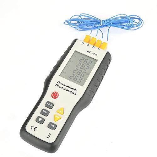 Akozon Termómetro, Termopares de Tipo K,4 Canales, LCD Medidor de temperatura con sonda -328 ° F ~ 2501 ° F (- 200 ° C ~ 1372 ° C)