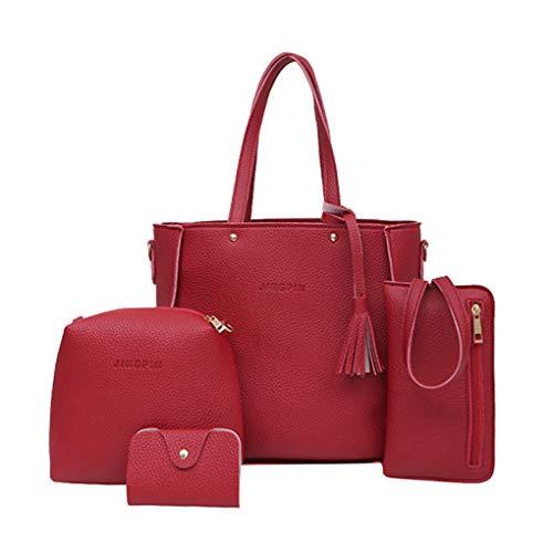Dorical Damen Handtasche 4 Pcs Set Damen Elegant Handtasche Schultertasche Portemonnaie Tragetasche Taschen Handtaschen/Crossbody Schultertasche Leichte Stylische Tote Bag für Frauen(Rot)