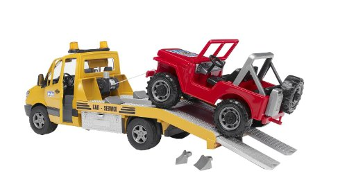 Bruder 02535 Toys Mercedes-Benz Sprinter sleepdienst met terreinwagen en Light and Sound module