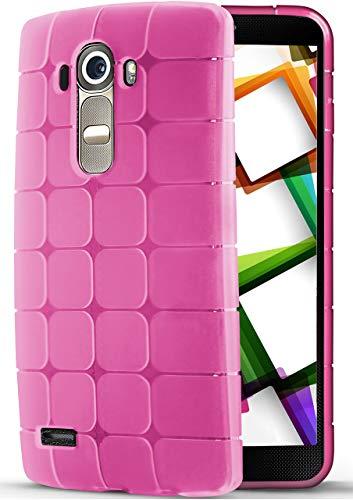 moex® Federleichte Silikonhülle mit mattem Würfel-Muster [Geometrisch] passend für LG G4   Sehr Rutschsicher & Flexibel, Pink