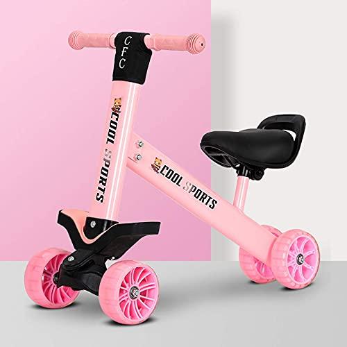 LINQ Triciclo para niños de 3 Ruedas: Truco para 3 años de Edad, sillín Ajustable del Cuerpo de Acero al Alto de Carbono, Adecuado para niños Mayores de 3 años, Azul (Color : Pink)
