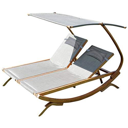 ASS Doppel - Sonnenliege Doppelliege Tulum extrabreit für 2 Personen mit verstellbarem Dach aus Holz Lärche von Farbe:Braun