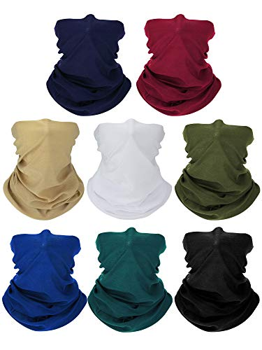 SATINIOR 8 Pieces Summer UV Protection Neck Gaiter Scarf Balaclava Cooling Breathable Face Cover Scarf, Black, White, Khaki, Dark Grey, Royal Blue, Army Green, Dark Green, Wine Red, One Size