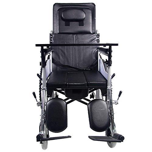 KANJJ-YU Silla médica de rehabilitación, sillas de ruedas, silla de ruedas Transporte apoyabrazos del asiento de elevación de la pierna Control de Respaldo La mitad de mentira 120Kg de carga del cojin