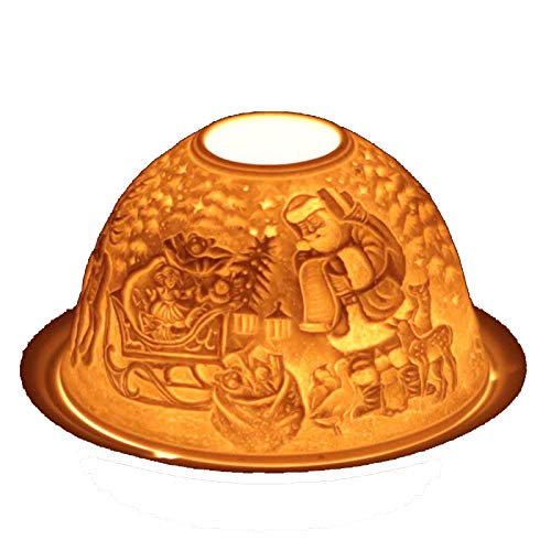 Feng Shui theelichthouder Kerstman met rendier 13 cm theelichthouder sfeerverlichting van porselein met geschenkdoos