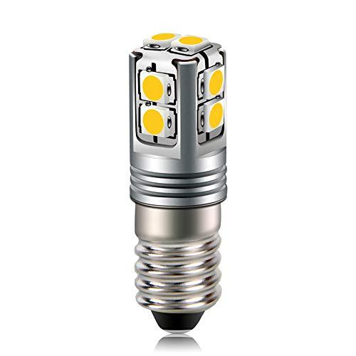 Ruiandsion Bombilla LED E10 6-40 V 3030 10SMD chips blanco cálido LED para faros antorcha bicicleta luz de trabajo, no polaridad