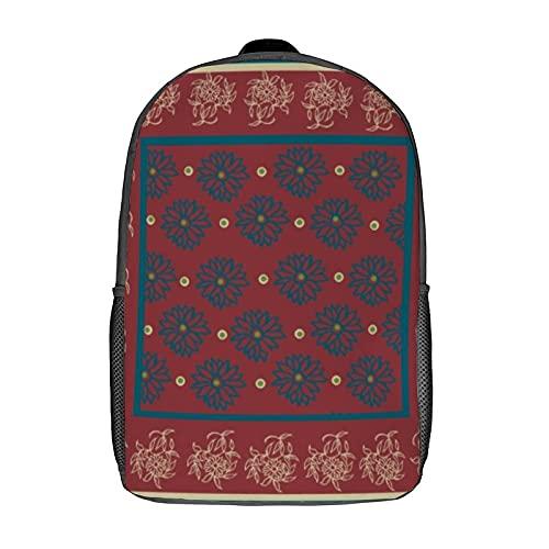 Mochilas, mochilas escolares, mochila de hombro, mochila para mujeres, niñas, niños, hombres, viajes, negocios, 43 cm, color beige y azul oscuro oriental floral en granate