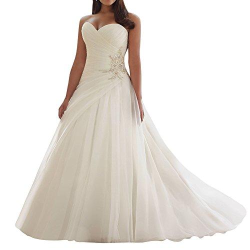JAEDEN Robe de mariée Longue Robe Nuptiale Tulle RobeMariage A-Ligne sans Bretelles Blanc EUR40