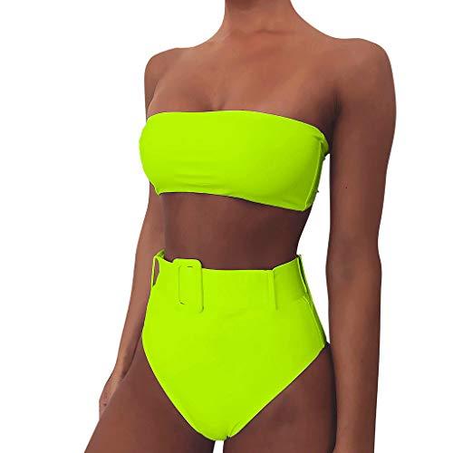 LOPILY Trägerlose Bikini Set Damen Neon Bandeau Bikinis High Waist Bauchweg Bademode Leo Bikini Zweiteilig Badeanzug Sportlich Ausgefallene Strandbikinis Sexy Beachwear (Grün, L)