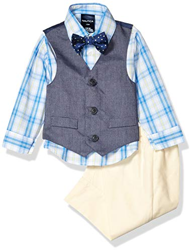 Nautica Baby Boys 4-Piece Set with Dress Shirts, Vests, Pants, and Bow Ties, Oxford Yellow, 3/6 Months