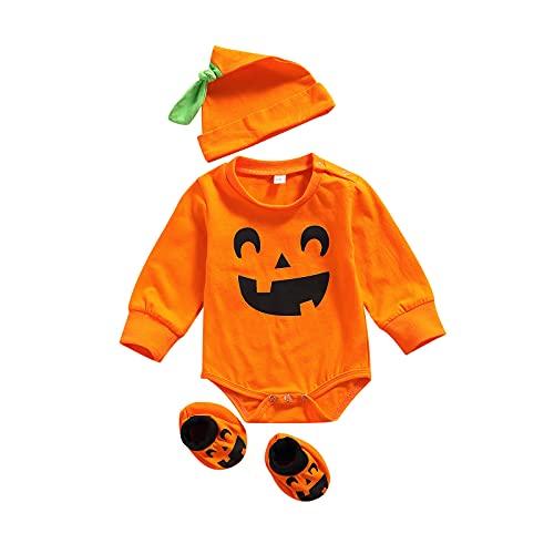 Dazzerake Trajes de Halloween Recién Nacidos Disfraz para Niños Estampado de Calabaza Conjunto Lindo de Moda (Smile 3pcs, 12-18 meses)