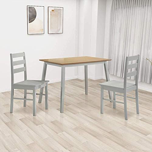 Mesa de madera moderna, con 4 sillas traseras, mesa de cocina rectangular, mesa de silla de cuero artificial,Grey-2