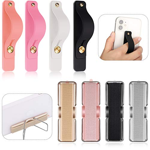 8 Pieces Finger Strap Phone Grip Holder Elastic Finger Holder Grip Stretch Finger Holder Finger Kickstand Phone Strap with Stand for Smartphones, Small Tablet, Multi-Colors (Eye-catching Colors)