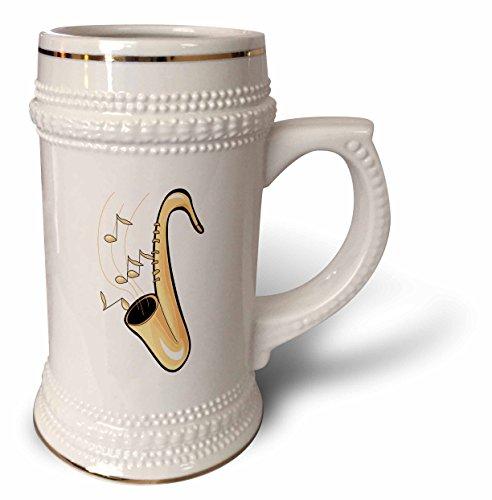 3dRose Saxophon-Tasse, abstraktes Saxophon mit Noten, Steinbecher, 510 ml, Weiß