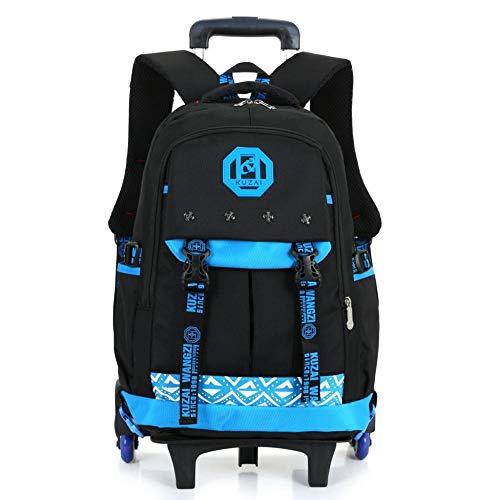 QFYD FDEYL Kinderkoffer Trolley Tasche für Mädchen,Kinderwagen dreirädrige Klettertreppe Reisetasche, handgezeichneten abnehmbaren Rucksack, blau,Schulrucksack Trolley