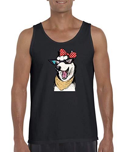 Druckerlebnis24 Camiseta sin mangas con diseño de Haski de Siberia, gafas de sol, lazo, camiseta para hombres y mujeres Negro M