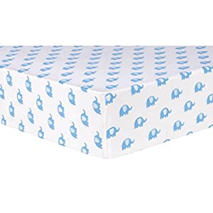 Trend Lab Blue Elephants Deluxe Flannel Fitted Crib Sheet