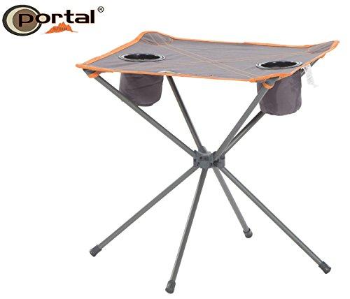 Portal Extra Leichter Camping Falttisch Zoe, 48 x 48 cm, bis 30 kg belastbar, mit Zwei Getränkehaltern und inklusive Tragetasche