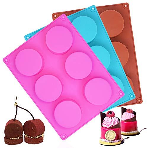 AIFUDA 3 moldes redondos de silicona de 6 agujeros para tapa de chocolate, galletas, magdalenas, brownie, jabón de resina hecho a mano