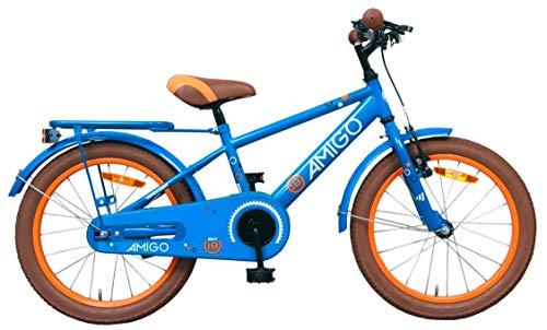 Amigo Sports - Bicicleta Infantil de 18 Pulgadas - para niños de 5 a 8 años - con V-Brake, Freno de Retroceso, Timbre, estándar e iluminación - Azul