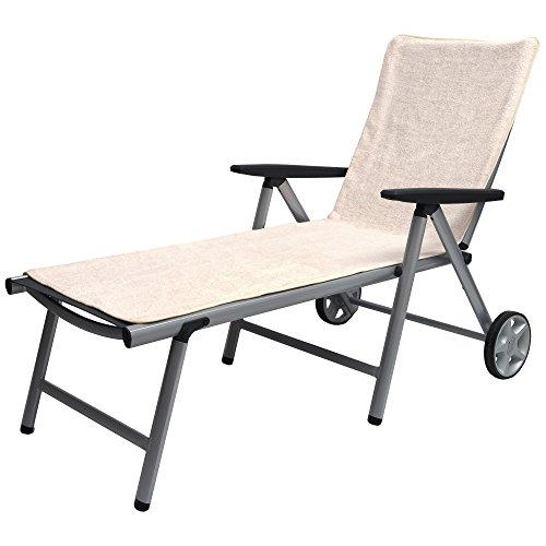 Beautissu XL Handtuch für Liegestuhl – Marbella Frottee Schonbezug Sonnenliege 70x200cm – Weiche Frottee Auflage Gartenliege mit Antirutschfunktion Creme