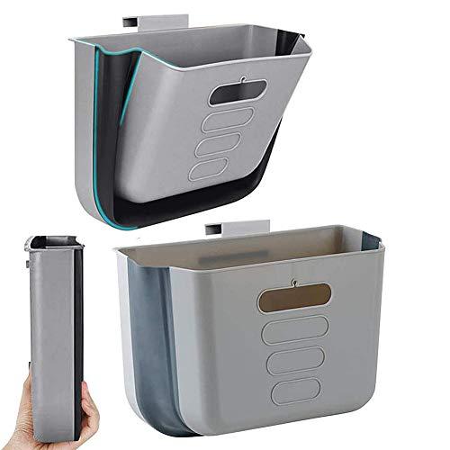AiBLii Cubo de basura colgante de cocina, pequeño cubo de basura plegable de plástico portátil, para armario, coche, dormitorio, baño y oficina, color gris