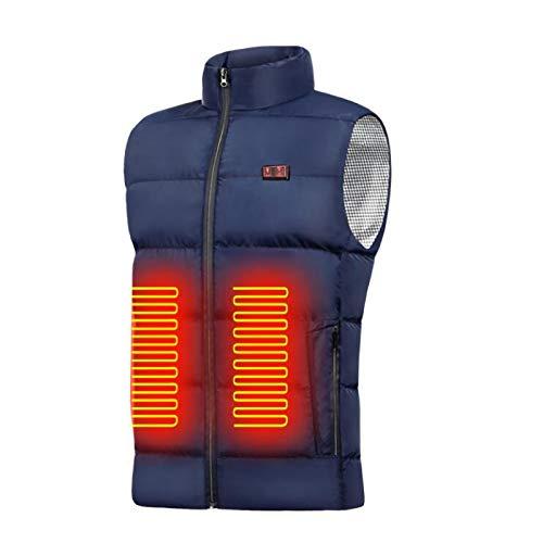 haoricu Women's Men Outdoor Warm 9 Dual Control Heating Vest Winter Outdoor for Riding Skiing Warm Heating Top Navy