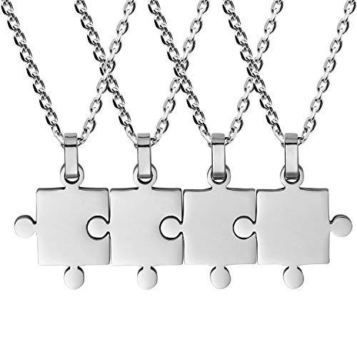 JewelryWe Schmuck 4pcs Edelstahl Matching Puzzle Anhänger Paare Freundschaft BFF Familie Halskette Set Silber