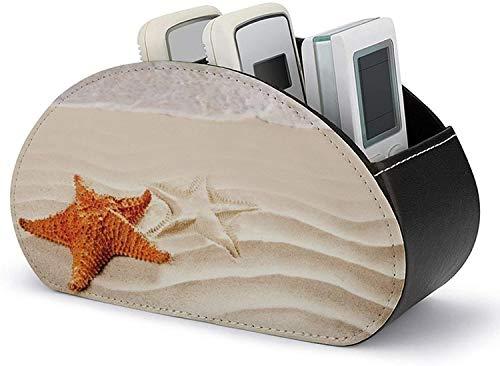 Soporte para control remoto de TV de escritorio - Organizador de soporte para control remoto con 5 compartimentos - Almacenamiento de accesorios multimedia de estrella de mar de arena de playa de cue